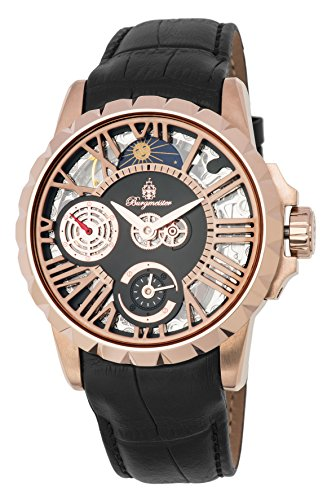 Burgmeister Men's Mechanical Hand Wind Stainless Steel and Leather Casual Watch, Color:Black (Model: BM237-302)