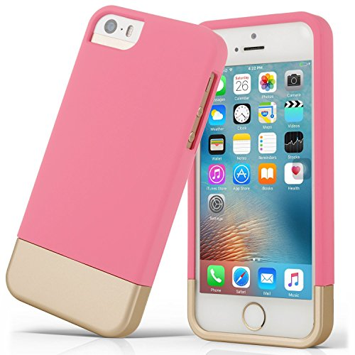 1 Piece Design (iPhone 5S Case ADHIL 2 in 1 Two Piece Sliding Design Cover Hard PC and Anti Scratch Microfiber Layer Shockproof Protective Case for iPhone 5/5S/SE (Pink))