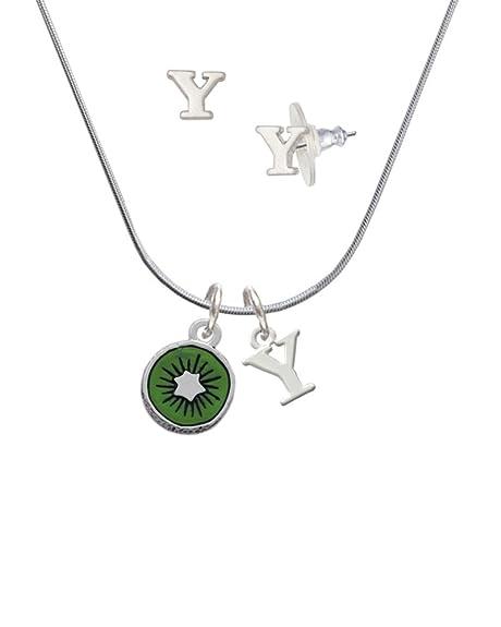 3-D esmalte verde kiwi - y inicial encanto collar y pendientes joyería Set: Amazon.es: Joyería