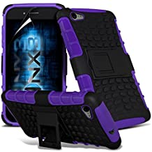 ONX3® ( Purple ) Samsung Galaxy A5 2016 Case Custom Made Tough Survivor Hard Rugged Shock Proof Heavy Duty Case W/ Back Stand, LCD Screen Protector Guard, Polishing Cloth & Mini Retractable Stylus Pen