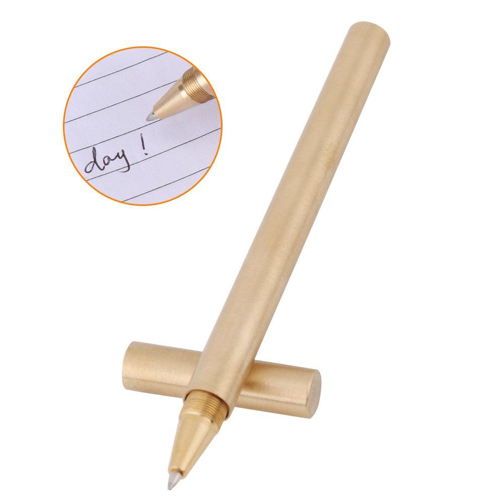 Penna ottone rame, penna in ottone massiccio,in metallo rame firma penna gel penna, regalo delle feste,penna antica fatto a mano, penna prismatica in ottone dorato da, inchiostro nero gel per la scrit Walfront
