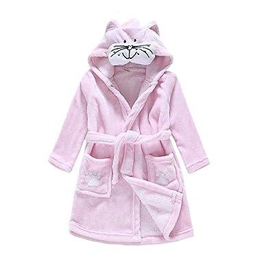 08102a71c0 Amazon.com  HAXICO Unisex Kids Soft Cartoon Flannel Bathrobe Baby Boys  Girls Hooded Pajamas Dressing Gown  Clothing