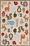 Momeni Rugs LMOJULMJ-2IVY5070 Lil' Mo Whimsy Collection, Kids Themed Hand Carved & Tufted Area Rug, 5' x 7', Multicolor Animals on Ivory