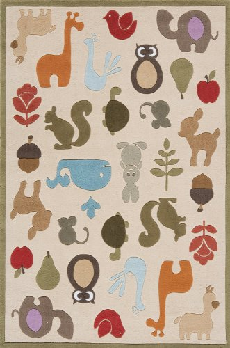 Momeni Rugs LMOJULMJ-2IVY2030 Lil' Mo Whimsy Collection, Kids Themed Hand Carved & Tufted Area Rug, 2' x 3', Multicolor Animals on Ivory by Momeni Rugs