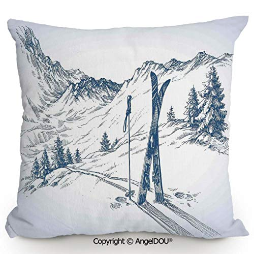 (AngelDOU Square Cotton Linen Pillow Cushion,Sketchy Graphic of a Downhill with Ski Elements in Snow Relax Calm View,Living Room Sofa car Bed Back Cushion Pillowcase.15.7x15.7 inches)