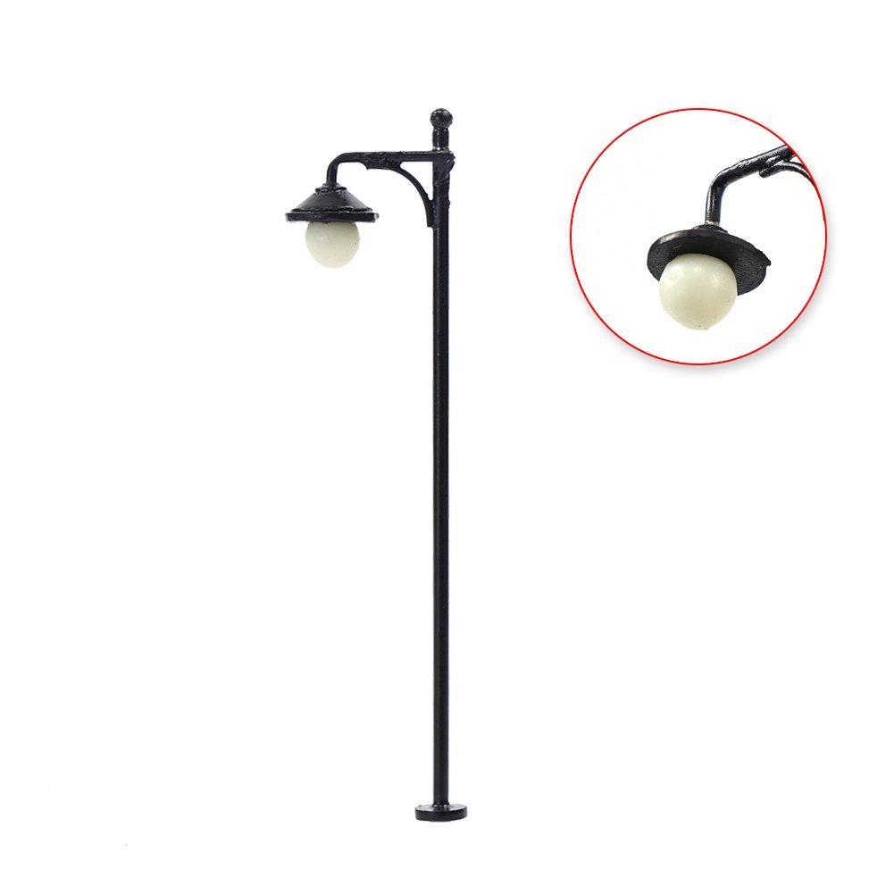 LYM22 10pcs Model Railway Train Lamp Post Street Lights HO OO Scale LEDs NEW by Evemodel (Image #4)
