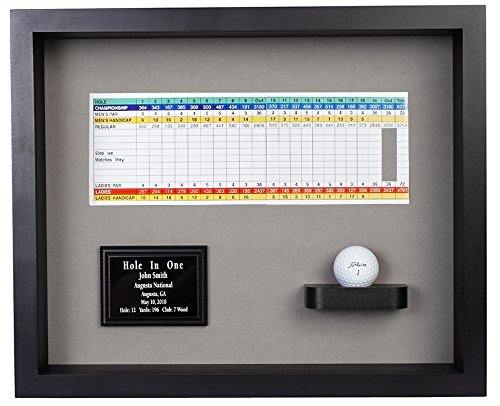 Eureka Golf Products Hole In One Ball & Scorecard or Photo Shadowbox Display-Free Engraved Plate (Black) ()