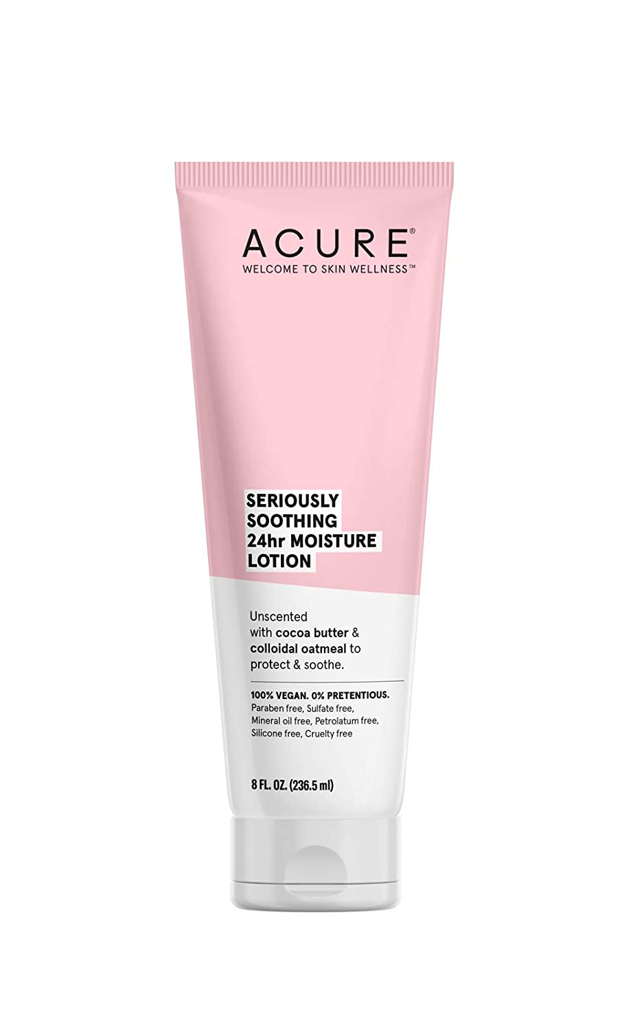 ACURE Seriously Soothing 24Hr Moisture Lotion | 100% Vegan | For Dry to Sensitive Skin | Cocoa Butter & Colloidal Oatmeal - Unscented, Soothes & Moisturizes | 8 Fl Oz