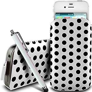 N4U Online - HTC Chacha protección pu Polka de cuero con cremallera diseño antideslizante de cordón en la bolsa del caso con cierre rápido y grande Stylus Pen - Blanco