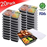 Meal Prep Containers 3 Compartment [20pack] Bento Box Food Storage Containers | Stackable |Reusable Lunch Boxes,Microwave/Dishwasher/Freezer Safe,Portion Control (34 oz) (20pack) … (20pack)