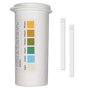 Restaurant Chlorine Sanitizer Plastic Test Strips, 0-300 ppm [Moisture Wicking Vial of 100 Strips]
