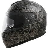 GLX Dual Visor Full Face Motorcycle Street Bike Helmet (Glossy Black/ X-Large)