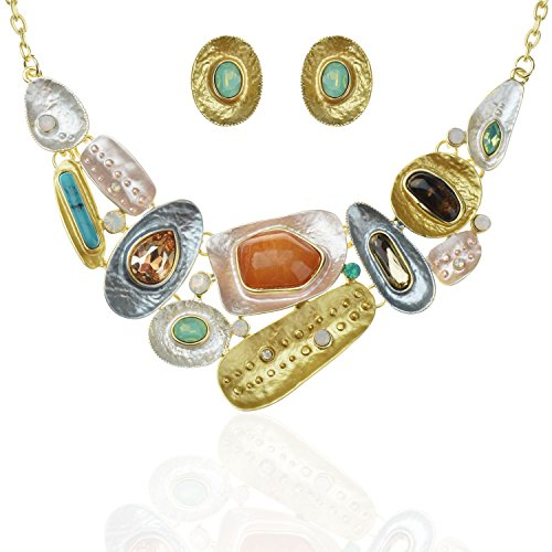 TAGOO Vintage Statement Necklace and Earrings Jewelry Sets for Women in Crystal Resin, Best Gift for Wife and Girlfriend (E-Yellow)