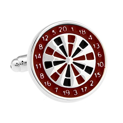 Leisure Sports Darts Sports Dart Scoring Plate Red And Black Color Paint Plating White Steel Cufflinks