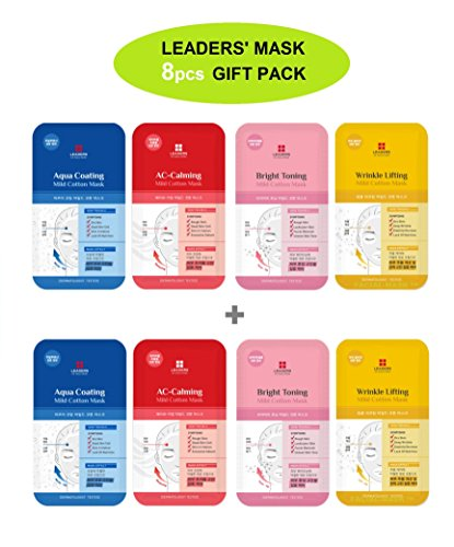 Face Calming (Korean Leaders Face Mask Sheets 8pcs Gift Pack Including Best Skin Care Masks 2 X of Aqua Coating, AC-Calming, Bright Toning and Wrinkle Lifting EX Solution in a Customized FACIAL-MASK Gift Pack)