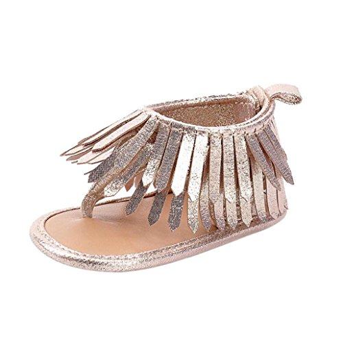 Malloom Bebé niña recién nacido borlas zapatos sandalias Oro