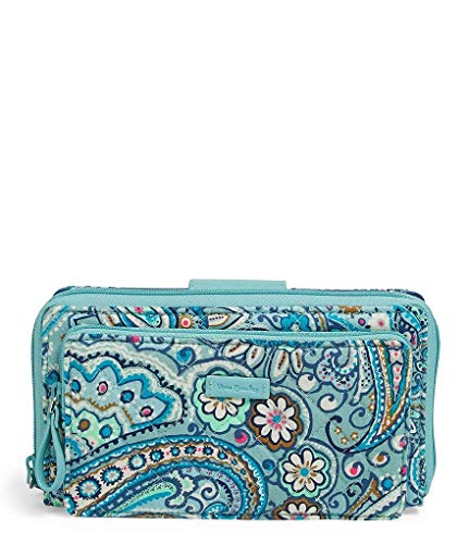 Paisley Checkbook Cover - Vera Bradley womens Iconic Deluxe All Together Crossbody, Signature Cotton, Daisy Dot Paisley, One Size