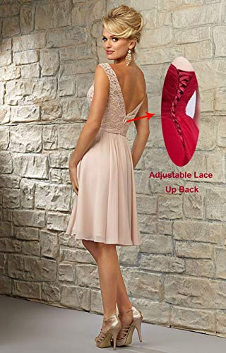 Formal Lace YORFORMALS Dress Evening Neck Women's Party Knee Bodice Bridesmaid Short Gown Purple Length V YqgY84x7rw
