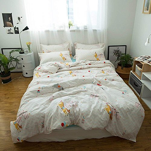 Kids Girls Cartoon Duvet Cover Set Twin Animals Print Boys Children Bedding Set Cotton Reversible Duvet Comforter Cover Set for Teens Adults with Zipper Closure and Corner Ties for Twin (Circus Bedding)