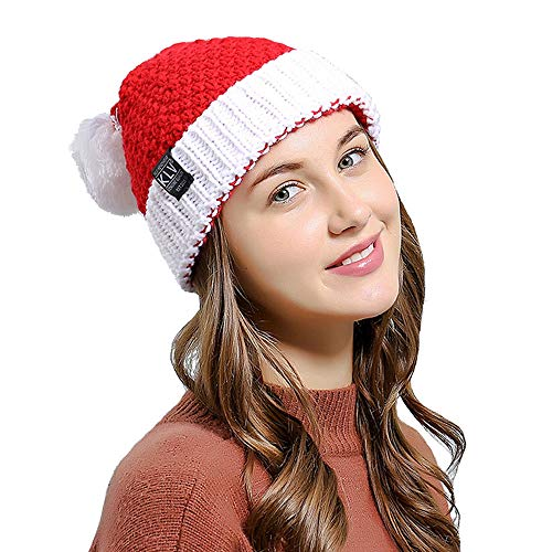Amersin Unisex Beanie Winter Hat Slouchy Warm Snow Knit Cap Girls Boys (Santa -