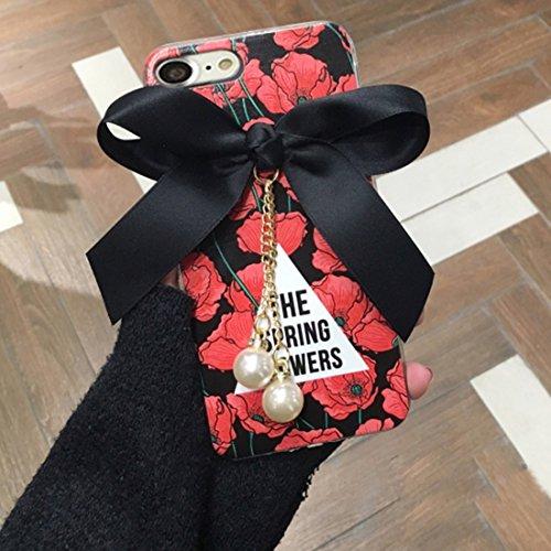 Wkae Blumenmuster und Bowknot Voller Abdeckung Weicher schützender rückseitiger Abdeckungs-Fall mit Perlen-Anhänger für iPhone 7 ( Size : Ip7g1346b )