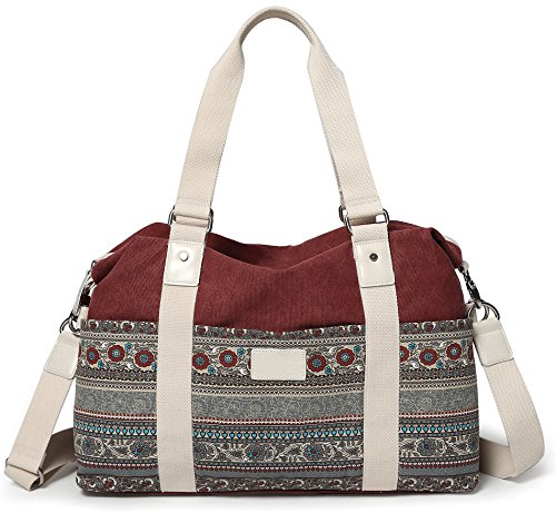 ArcEnCiel Women's Large Canvas Shoulder Hand Bag Tote Bag (Maroon)