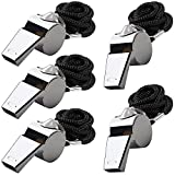 5 Packs Stainless Steel Whistle, FineGood Loud Metal Whistle with Lanyard for Referees Coaches Lifeguards Survival Emergency Football Basketball Soccer Hockey