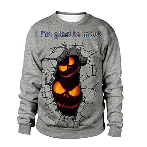 Women Men Halloween Costume Scary Skull 3D Print Hoodie Pumpkin Sweatshirt Top (C,X-Large) -