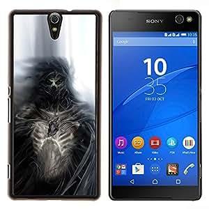 Gothic Skull Skeleton Diablo Demonio- Metal de aluminio y de plástico duro Caja del teléfono - Negro - Xperia C5 E5553 E5506 / C5 Ultra