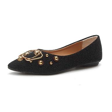 55eac169cb641 Amazon.com: Sharemen Women's Fashion Metal Casual Shoes Leather ...