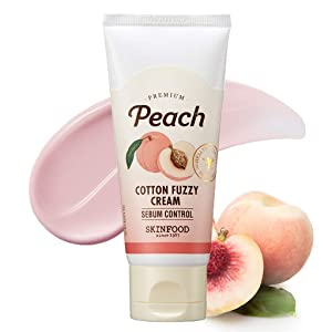 SKINFOOD Peach Cotton Fuzzy Cream 60ml (2.03 oz) - Pink Calamine Contained Sebum Control Facial Tone up Cream, Smooth Texture, Soft and Downy Skin