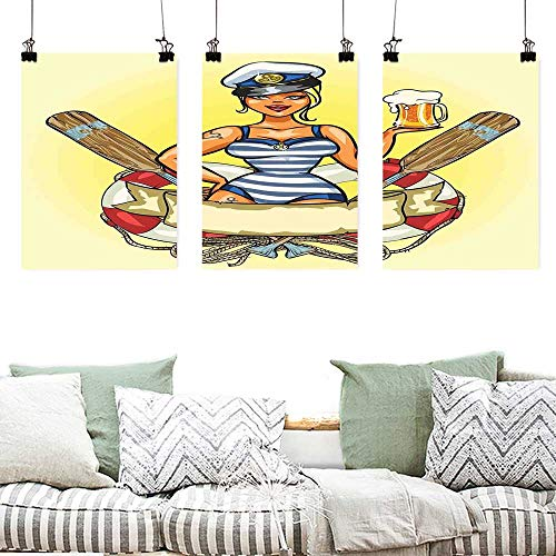 Art Oil Painting Girls Pin Up Sexy Sailor Girl Lifebuoy with Captain Hat and Costume Glass of Beer Feminine Modern Decorative Artwork 3 Panels 24x35inchx3pcs Multicolor -