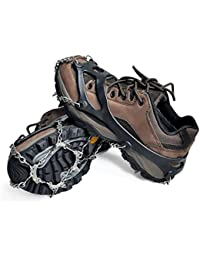 Crampons Ice Cleats Tracks Shoes YIQIC Universal Anti Slip Boots 10 Teeth Spikes for Snow Hiking Camping Climbing