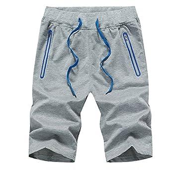 b45a1e3d89d3 Juqilu Kurze Hose Herren - Shorts Sweatshorts Mode Einfarbig Elastische  Taille Hose mit Reißverschluss Taschen Sommer
