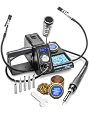 X-Tronic Model #3020-XTS-ST Digital Display 75 Watt Soldering Iron Station with 5 Extra Soldering Tips 10 Minute Sleep Function C/F Switch Solder Roll Holder Brass Tip Cleaner with Cleaning Flux