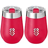Summit Outdoor Wine Glasses, Vacuum Insulated Wine Tumbler With Lid, Stainless Steel Metal Cup, Unbreakable, Shatterproof, Portable, Set of 2, Travel or Camping, New Sliding Lid