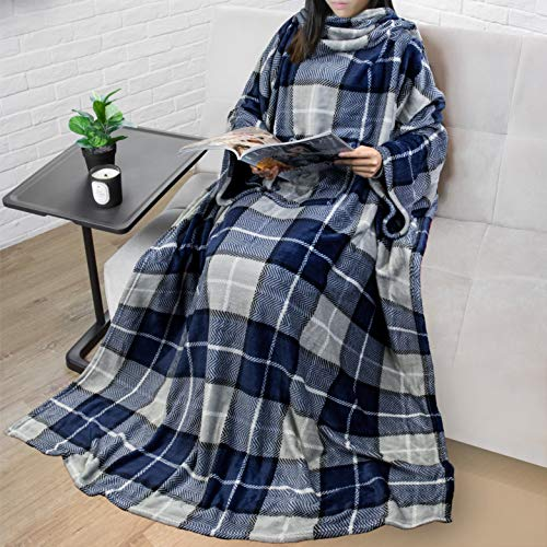 PAVILIA Premium Fleece Blanket with Sleeves for Adult, Women, Men | Warm, Cozy, Extra Soft, Microplush, Functional, Lightweight Wearable Throw (Plaid Navy)