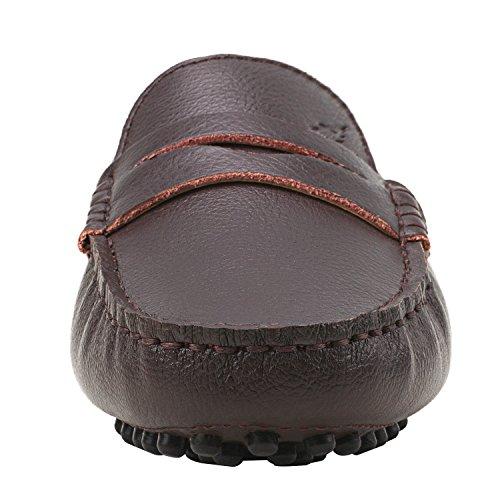 Femme Mocassins Café De Chaussures Multicolore Shenduo Bateau Classic amp; D7052 Cuir Ville Loafers Confort 5SxqE1O