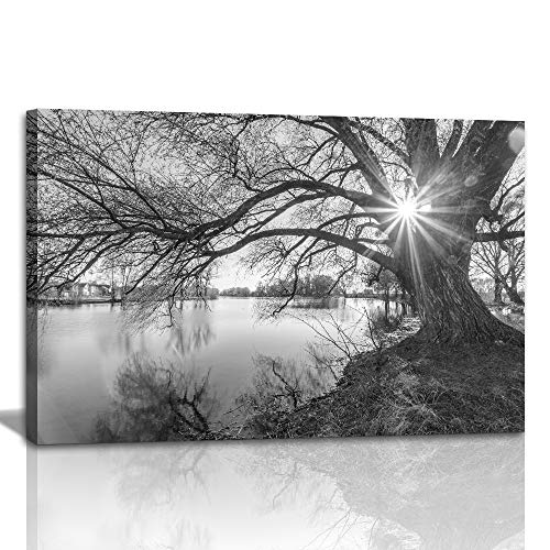1 Large Modern Canvas Painting Wall Art The Pictures Photo for Home Decor Black and White Tree Silhouette in Sunrise Time Lake Landscape Prints On Canvas Giclee Artwork for Wall Decor ()
