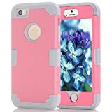 iPhone 5S/SE Case, MCUK [Heavy Duty] [Shock Resistant] [Drop Protection] Hybrid Best Impact Defender Cover Shell Plastic Outer & Rubber Silicone Inner for Apple iPhone 5S/SE (Pink+Grey)