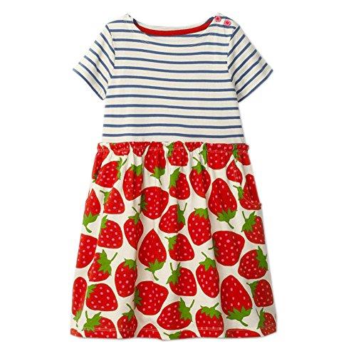 IsabelaKids Little Girls Animal Print Cotton Summer Short Sleeve Tunic Dress with Striped Pocket (2T, Strawberry) -
