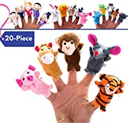 BETTERLINE 20-Piece Story Time Finger Puppets Set - Cloth Velvet Puppets - 14 Animals and 6 People Family Memb