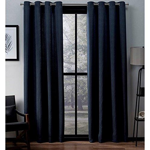 ze Faux Silk Grommet Top Curtain Panel Pair, Peacoat Blue, 54x108, 2 Piece ()