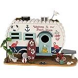 "Bird House Nesting Box Caravan Wood Decoration Height 7.09"" Width 7.48"""