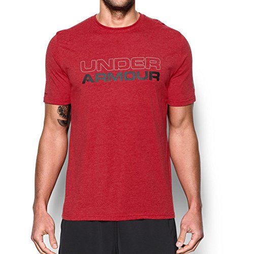 Under Armour Men's Wordmark T-Shirt, Red/Black, Medium