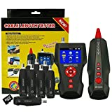 Kibeland Portable Cable Tester Wire Tracker RJ45 RJ11 BNC Cable Length Tester with 8 Remote Identifier POE PING Data Storage Function and Port Flash, Free TF card