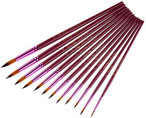 メイクブラシ 水彩オイルはアクリル画の絵画のための適切な12個パープルポールラウンドフロントオイルブラシダブル色のナイロンウール