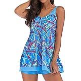 XINDEEK Women Summer Casual Vest Dresses Beach Cover up Plain Two Pieces Tank Swimdress 2019 New(Blue, 3XL)