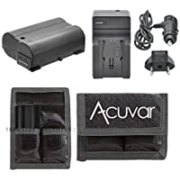 EN-EL15 Replacement Battery + Car / Home Charger + Acuvar Battery Pouch For Nikon D7100, D7000, D610, D600, D800, D800E, 1 V1 & More