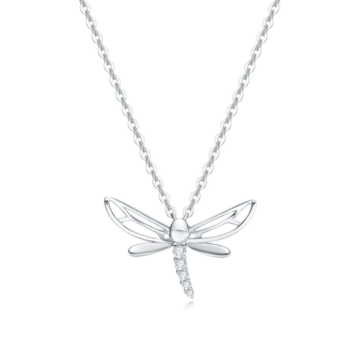 cae0fbdfc Amazon.com: Carleen 14k Solid White Gold CZ Cubic Zirconia Dragonfly  Necklace Dainty Delicate Fine Jewelry Statement Pendant for Women Girls, ...